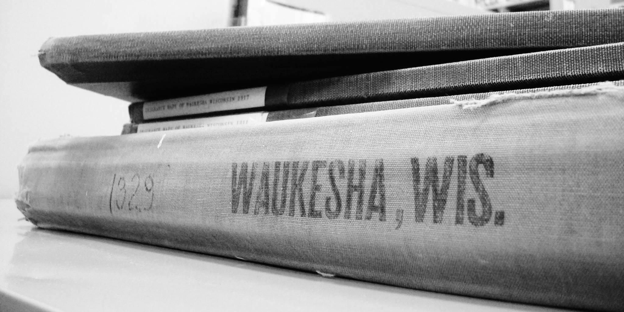 Photo of historical books at Waukesha Public Library