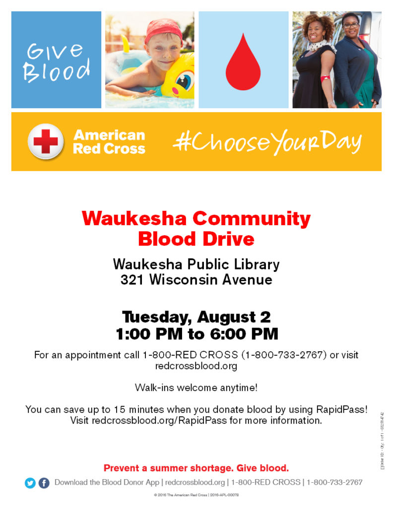 Waukesha Community Blood Drive August 2, 2016