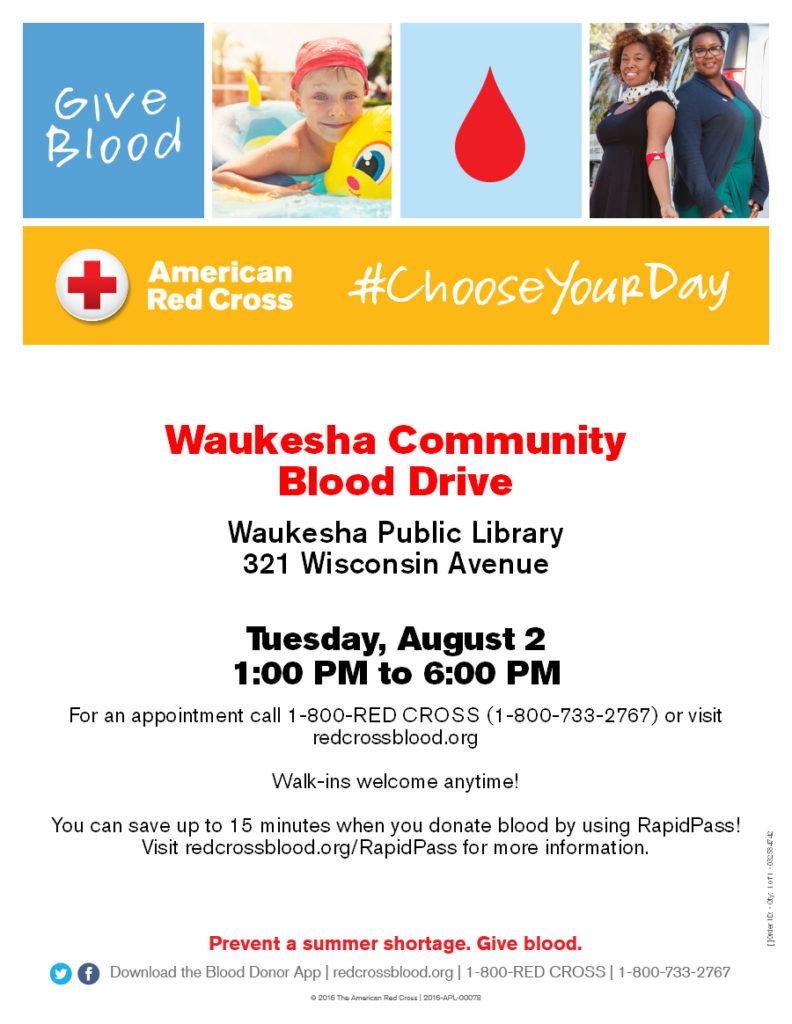 Waukesha Community Blood Drive August 2, 2016