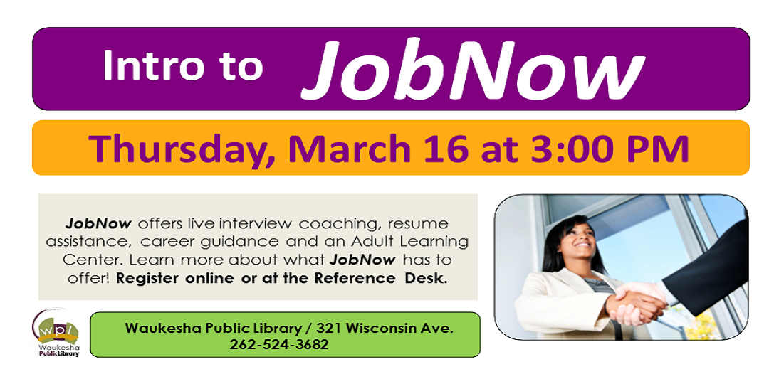 Introduction to JobNow March 16 3:00 PM