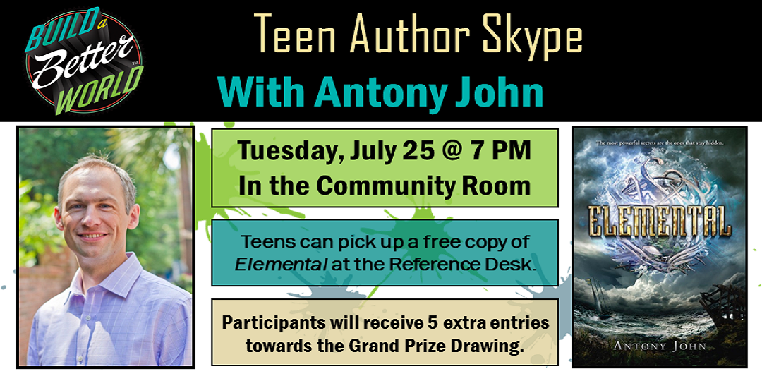 Join Teen Author Anthony John for a Skype Session Tuesday July 25 7PM